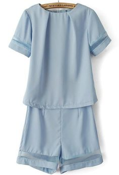 Blue Short Sleeve Contrast Gauze Top with Shorts pictures