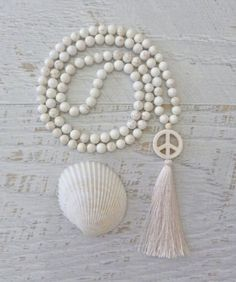 long tassel necklace mala white peace necklace by beachcombershop