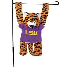 NCAA Plush 3D Mascot Garden Flag (LSU Tigers)