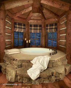 Lo cuelgo por lo rústico, pero me gustaría más que fuera una sauna, no una bañera, y lo pondría más bien tirando al jardín con una piscina al lado, eso sí, tapado.