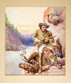 Original Buffalo Bill Cover Art Watercolor by R. Prowse