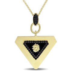 V1969 Italia Black Agate And Black Sapphire Mystique Necklace In... ($440) ❤ liked on Polyvore featuring jewelry, necklaces, multi colored, 18k yellow gold necklace, gold necklace, sterling silver necklace, 18k gold necklace and sterling silver chain necklace