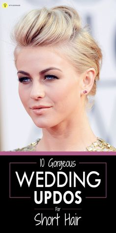 10 Gorgeous Wedding Updos For Short Hair Looking for the perfect short hair up'do for your big day? Here are 10 gorgeous wedding updos for short hair that helps you steal the show on your wedding day Romantic Short Hair, Very Short Hair, Short Hair Styles Easy, Short Hair Cuts, Short Hair Updo Easy, Up Hairstyles, Braided Hairstyles, Wedding Hairstyles, Teenage Hairstyles