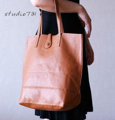 Simple Leather Shoulder Bag Tan Brown by studio731 on Etsy. $100.00, via Etsy.