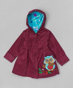 Burgundy Owl Hooded Jacket - Toddler & Girls by Maria Elena #zulily #zulilyfinds
