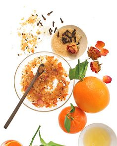 Spicy Sugar Scrub - 3/4 cup sugar, 2 teaspoons ground cloves, 1 tablespoon dried rose petals, 2 teaspoons grated orange zest and 1 1/2 cups sesame oil.
