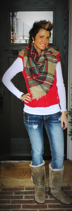 skinny jeans, red puffer vest, tartan plaid, scarf, boots, cozy outfit, fashion