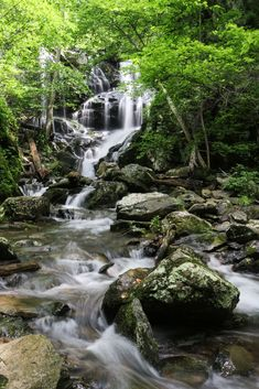 Waterfall in Shenandoah National Park, Virgina, one of America's greatest national parks to visit in spring.