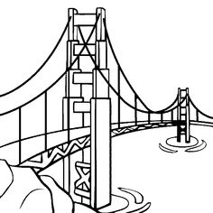 100% free coloring page of the Golden Gate Bridge. Color in this picture of the Golden Gate Bridge and share it with others today!
