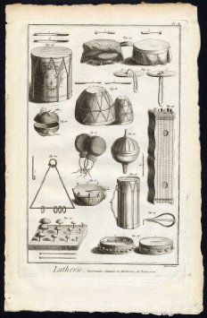 Antique Print-LUTHIER-LUTHERIE-PERCUSSION-INSTRUMENTS-MUSIC-DRUM-Diderot-1751