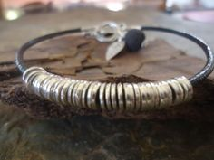 RINGED with LEAF & LAVA  leather bracelet by AsaiBolivien on Etsy