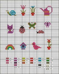 Billedresultat for small cross stitch patterns Cactus Cross Stitch, Tiny Cross Stitch, Cross Stitch For Kids, Beaded Cross Stitch, Cross Stitch Alphabet, Crochet Cross, Cross Stitch Designs, Cross Stitch Embroidery, Cross Stitch Patterns