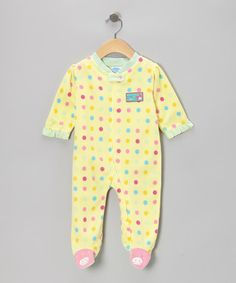 Take a look at this Yellow Ladybug Polka Dot Footie by bon bébé on #zulily today!