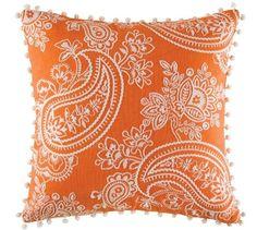 Cushion cover kas size 45cm x 45cm square kamiri orange design bobin boutique A