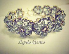 Sapphire bracelet Swarovski Handmade by lyrisgems on Etsy