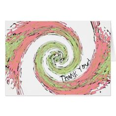 Pink and Green Abstract Spiral Thank You Card - pink gifts style ideas cyo unique