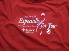 The shirt color for the 2013 Especially for You Race Against Breast Cancer is . Save the date for the 2013 Race: October Especially For You, Cedar Rapids, How To Raise Money, Breast Cancer Awareness, Colorful Shirts, Medical, Neon Signs, October, Red