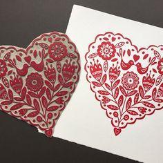 Original Linocut Print Folk Art Heart With Birds in Magenta Red by Claire McKay Linolium, Lino Art, Linoleum Block Printing, Stamp Carving, Bird Wall Art, Linoprint, Tampons, Linocut Prints, Heart Print