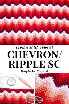 Chevron Crochet Stitch Tutorial - Nicki's Homemade Crafts This Chevron aka Ripple Stitch using Single Crochet Stitches makes a beautiful pattern that is easy to crochet. Photo and Video tutorial provided. Crochet Patterns For Beginners, Crochet Blanket Patterns, Crochet Stitches, Stitch Patterns, Knitting Patterns, Learn To Crochet, Easy Crochet, Free Crochet, Crochet Ideas