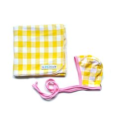 Yellow and White Gingham Reversible Knit Bonnet and Blanket