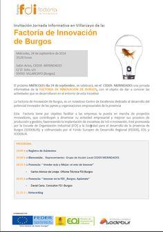 24/9 Jornada Informativa Factoría de Innovación de Burgos.  Villarcayo 20:00h Salon de Actos del CEDER Merindades