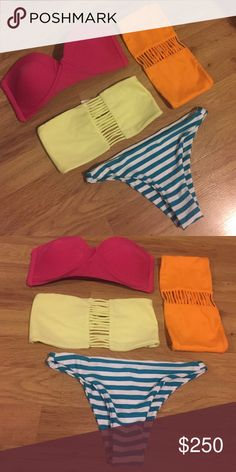 Mikoh- size SMALL. All New. 2 tops. 1 bottom Accepting most offers- use OFFER button. 🏝 Also selling individually in my closet. Come take a look, I have some new free people too. (Tags: mikoh, acacia, swim) Mikoh Swim Bikinis