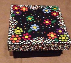 209 best images about cajas decoradas Dot Art Painting, Mandala Painting, Mandala Art, Stone Painting, Painting On Wood, Painted Wooden Boxes, Hand Painted, Mandala Rocks, Mandala Design
