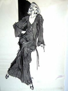 "Kenneth Paul Block Original B w Fashion Illustration 18"" x 24"" Circa 1980"
