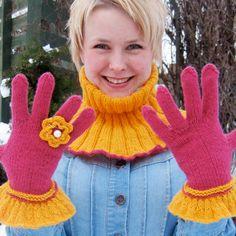 Sett med hals og fingervotter - Happy Knitting AS Fingerless Gloves, Arm Warmers, Knitting, Happy, Fashion, Threading, Mittens, Moda, Cuffs