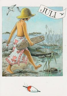 Serie of 12 postcards by Swedish illustrator Lena Anderson, featuring the main character Linnea. Vintage Pictures, Vintage Images, 4th Of July Images, Elsa Beskow, Hello July, Grand Tour, Months In A Year, 12 Months, Beach Art