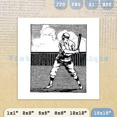 Printable Baseball Player Image Digital by VintageRetroAntique
