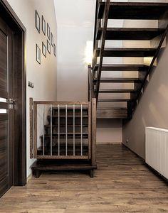 Couleur de plancher et rampe d 39 escalier en fer forg d co maison pin - Planche de bois pour escalier ...