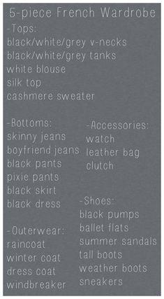 French Wardrobe, 5-piece, capsule wardrobe, basics