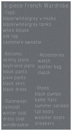 French Wardrobe, 5-piece, capsule wardrobe, basics