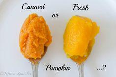 fresh pumpkin vs canned pumpkin for pie.plus a pumpkin pie recipe. Maybe for a fun party close to Thanksgiving! Fresh Pumpkin Pie Recipe, Pumpkin Butter, Pumpkin Pie Recipes, Canned Pumpkin, Pumpkin Puree, Fall Recipes, Sweet Recipes, Pumkin Pie, Pumpkin Pumpkin