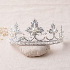 Tiaras, aleación de zinc, con Perlas de plástico ABS, chapado en color de plata, para novia & con diamantes de imitación, libre de plomo & cadmio, 160mm, 3PCs/Bolsa, Vendido por Bolsa,Abalorios de joyería por mayor de China