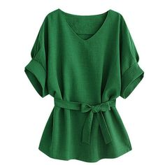Casual Women Solid Color V-Neck Linen T-Shirt With Belt ($19) ❤ liked on Polyvore featuring tops, t-shirts, shirts, blouses, green, green v neck t shirt, collar t shirt, half sleeve shirts, summer shirts and green collared shirt