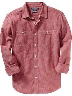 Red Chambray? Always a solid investment. Men's Slim-Fit Chambray Shirts @ Old Navy