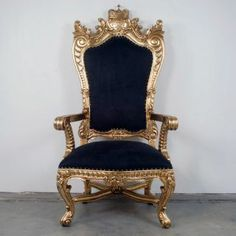 Pirate's King Chair Gold Trim with Black Suede Throne Chair A centerpiece for any room. Available in a variety of colors, fabric, and trim. Custom made hand-carved mahogany Approx. Painting Wooden Furniture, Furniture Logo, Art Deco Furniture, White Furniture, Rustic Furniture, Antique Furniture, Living Room Furniture, Diy Furniture, Modern Furniture