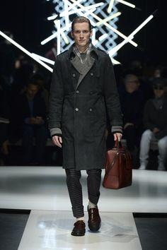 Unlined nubuck and cashmere trench with cashmere sweater and wool pants, two-tone monk-strap-style shoes #CanaliFW15 #mfw #menswear #mensfashion #moda