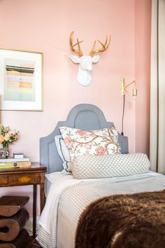 Pink twin bedroom in Behr One to Remember on Thou Swell @thouswellblog