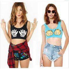 2015 Women Sport Slim Short Tanks Palm Print Show Navel Summer Tops Ployester Nifty Camisas Slim Fit Hot Sale High Quality