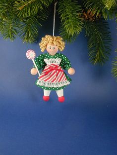 Clothespin Peppermint Girl Ornament Christmas by clotheslinecuties