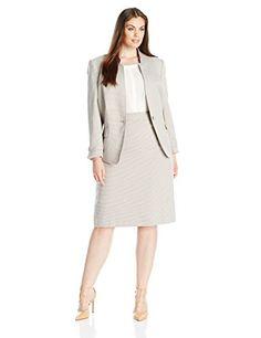 44de24ddf037 Tahari by Arthur S. Levine Women's Plus-Size Tahari Asl Houndstooth Skirt  Suit, Beige/White, 18W