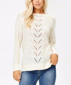Look at this #zulilyfind! Ivory Cable-Knit Crewneck Sweater #zulilyfinds