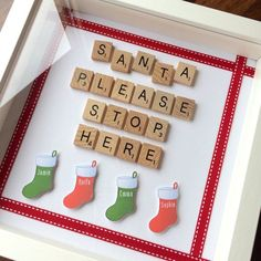 Items similar to Santa Stop Here Sign Frame - Personalised Scrabble Style Art - Christmas on Etsy Scrabble Tile Crafts, Scrabble Frame, Scrabble Art, Christmas Crafts For Gifts, Christmas Projects, Christmas Diy, Scrabble Christmas Decorations, Christmas Box Frames, Christmas Shadow Boxes