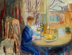 Interior with boy - Else Christie Kielland , Norwegian, Oil on canvas, 76 x 100 cm. Norway, Oil On Canvas, Pictures, Painting, Interior, Art, Sculpture, Photos, Art Background