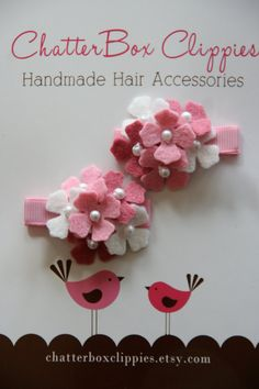 Baby Hair Clip Set Pink Mini Hydrangeas by ChatterboxClippies, $9.99