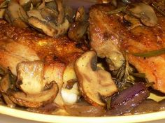 pan roasted chicken/mushroom/onion/rosemary, will be using chicken breast, low carb