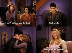 See? He's her lobster! Fan Art of Ross and Rachel (He's her Lobster) for fans of TV Couples 30531395 Friends Tv Show, Friends Best Moments, Tv: Friends, Serie Friends, Friends Episodes, I Love My Friends, Friends Forever, Friends Ross And Rachel, Friends Phoebe